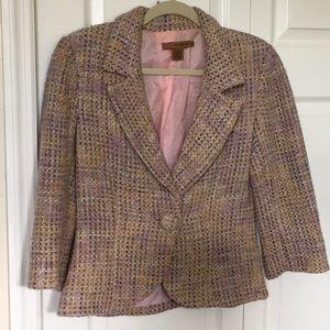 Great pastel tweed 3/4 sleeve blazer